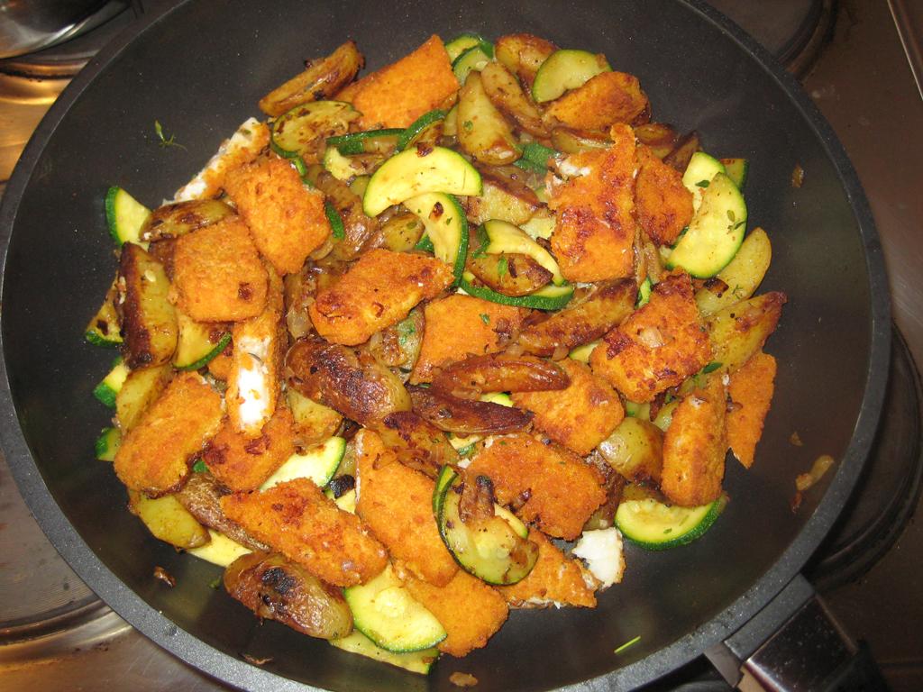 Fischstäbchen-Zucchini-Pfanne